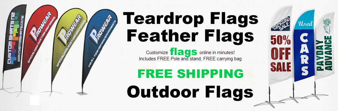 Customized teardrop flags, bow flags, feather flags, banners